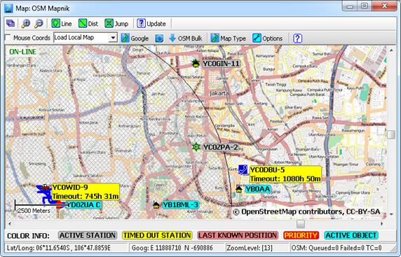 Tampilan SARTrack dengan Background Peta OpenStreetMap (OSM)