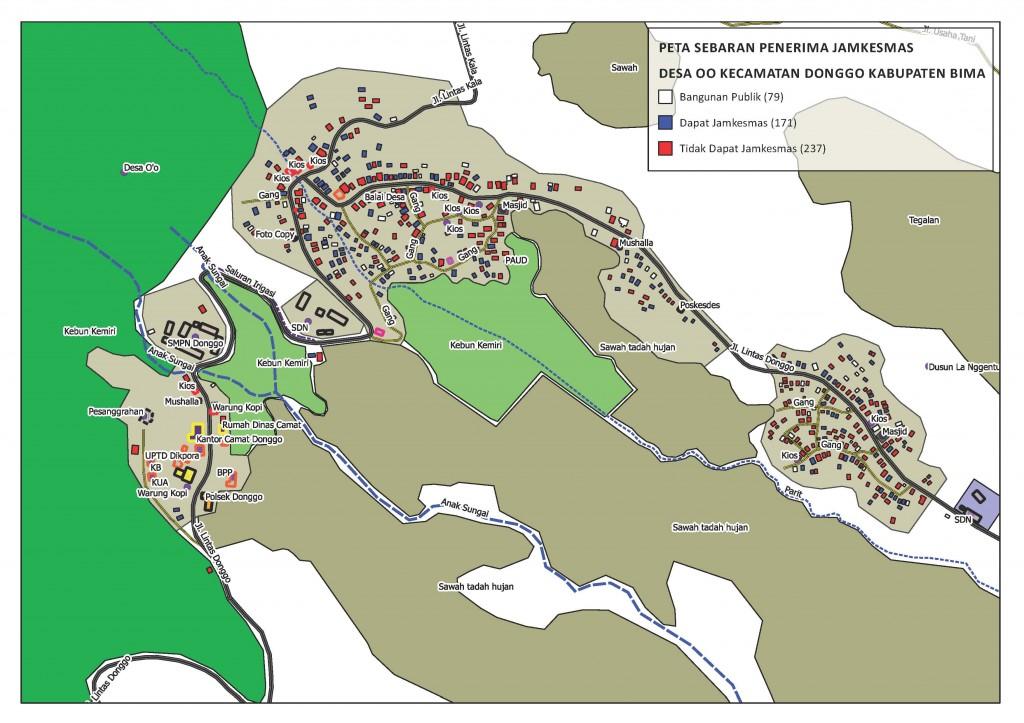 Peta Sebaran Penerima Jamkesmas Desa O'O - Kab Bima