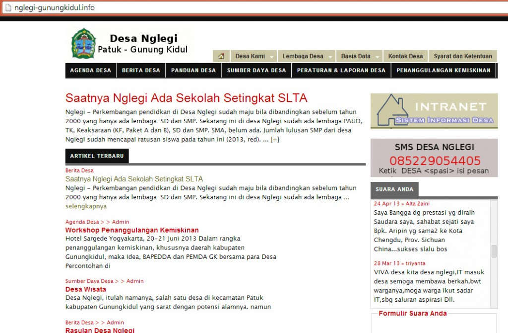 website SAID Desa Nglegi  http://nglegi-gunungkidul.info/