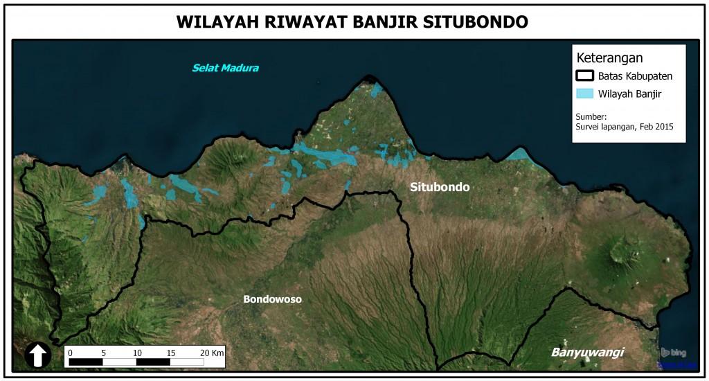 Peta Wilayah Riwayat Banjir di Situbondo berdasarkan hasil survei lapangan, Februari 2015.