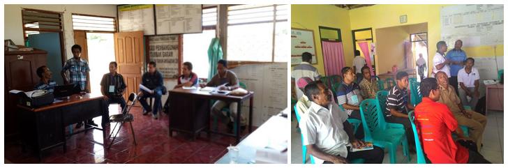 Kegiatan survei lapangan dan mewawancarai warga lokal di Kantor Desa