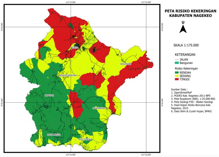 Peta Risiko Ancaman Kekeringan karya peserta pelatihan.