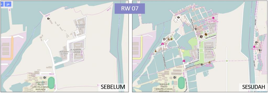 Gambar 3. Peta RW 07 Kelurahan sebelum dan sesudah pemetaan