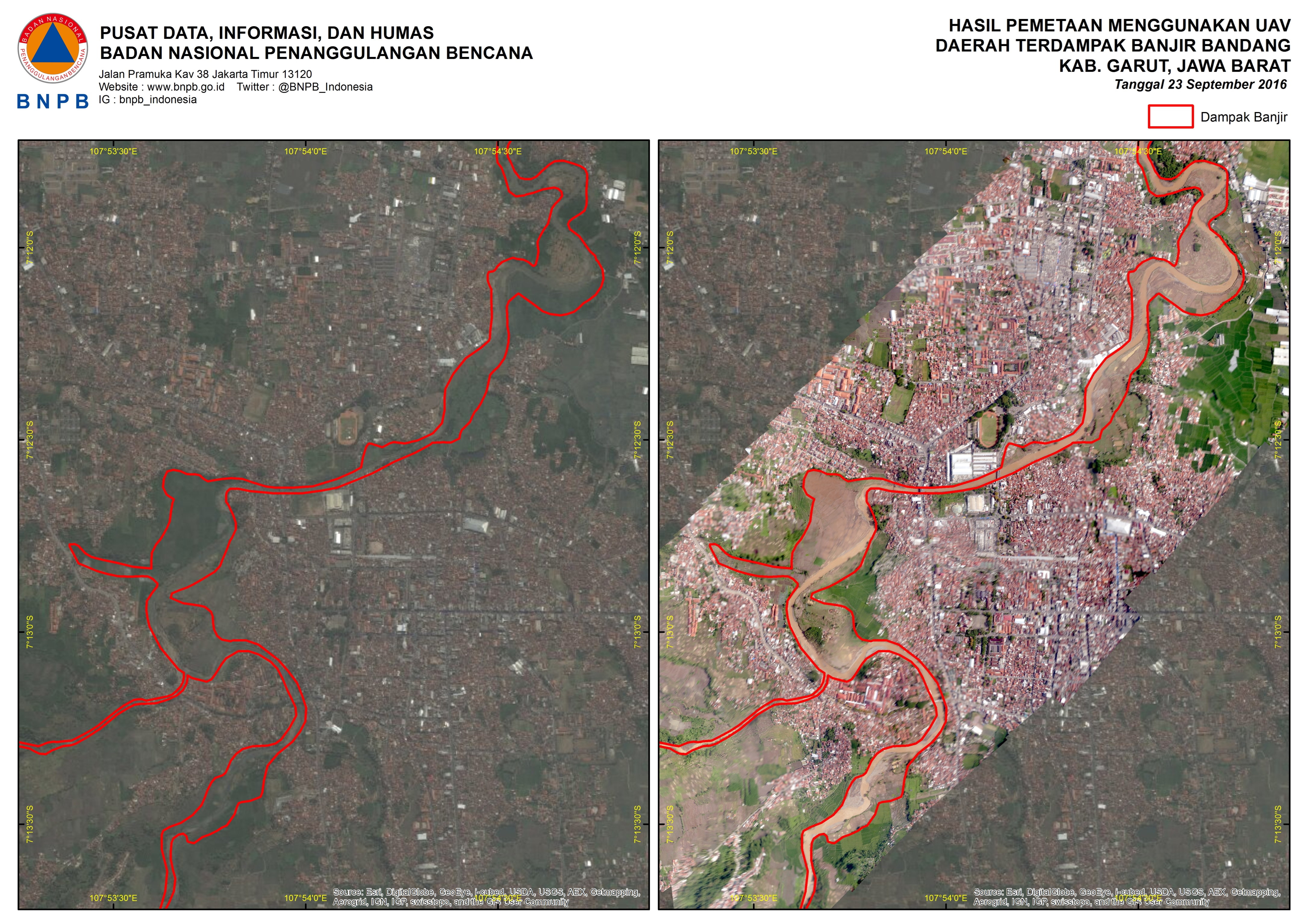 Maps Produced by Aerial Photograph Using UAV in Area Affected by Flash Flood in Garut District (Source: http://geospasial.bnpb.go.id/wp-content/uploads/2016/09/Banjir-garut-uav.jpg)