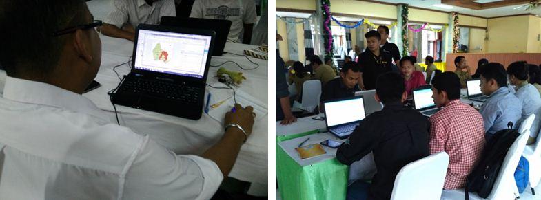 Para peserta belajar membuat peta menggunakan QGIS